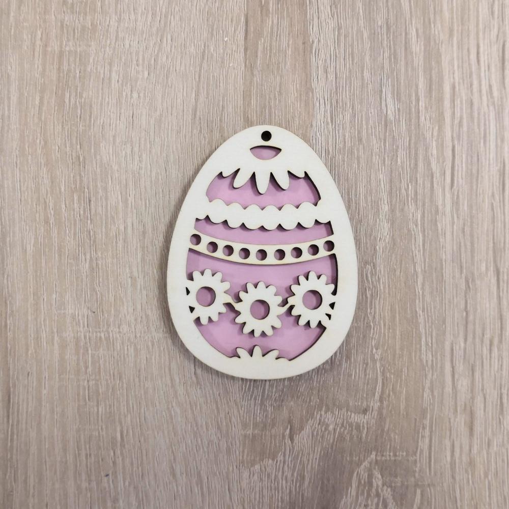 Drevená dekorácia - veľkonočné vajíčko (Farebné veľkonočné vajíčko - vzor kraslica)