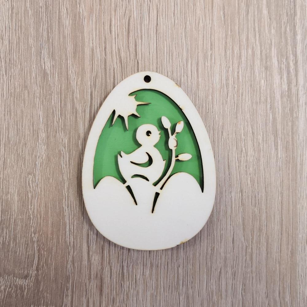 Drevená dekorácia - veľkonočné vajíčko (Farebné veľkonočné vajíčko - vzor kačka)